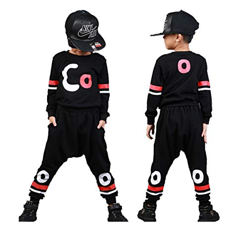 Boys Cotton 2PCS Clothing Sets Kids Long Sleeve Top Pant Set (12-13 Years/Tag 160, Black T-Shirt + Black Pant) by Haoguagua (Image #7)