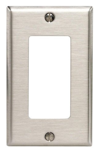 Stainless Steel Wall Plate - Leviton 84401-40 1-Gang Decora/GFCI Device Decora Wallplate, Device Mount, Stainless Steel.