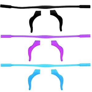 BCP Set of 3 Silicone Kid Children's Eyewear Glasses Neck Retainers Eyeglass Glasses Sunglasses Spectacle Head Safety Strap Cord Holder for Kids Children (Black#Blue#Purple)