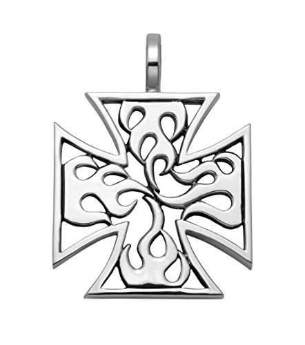 Wild Things Large Sterling Silver Openwork Flaming Cross Pattee Pendant