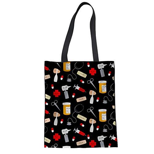 Upetstory Funy Nurse Emoji Cotton Tote BagsTravel Shopping Shoulder Handbag for Women Foldable Grocery Pouch]()