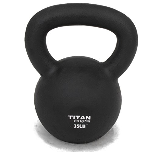 Cast Iron Kettlebell Weight 35 Lbs Natural Solid Titan Fitness Workout Swing