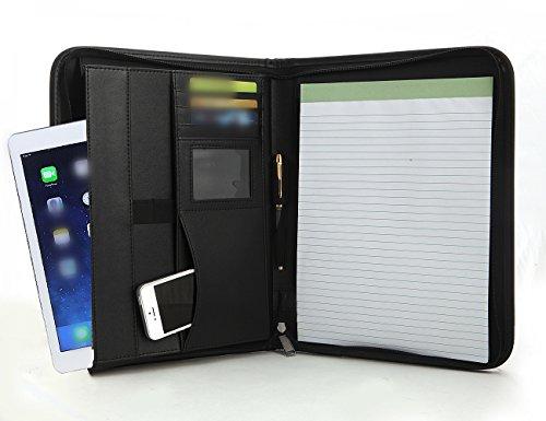 executive zippered portfolio binder  rfid blocking sleeve