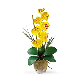 Nearly Natural 1016-GY Phalaenopsis Silk Orchid Flower Arrangement, Yellow 65