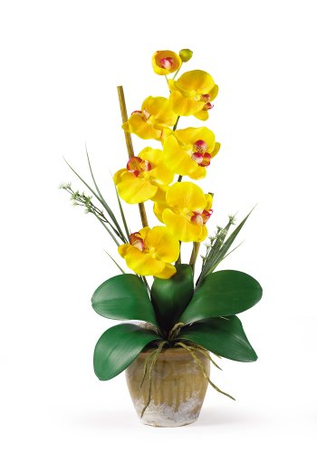 Nearly Natural 1016-GY Phalaenopsis Silk Orchid Flower Arrangement, -