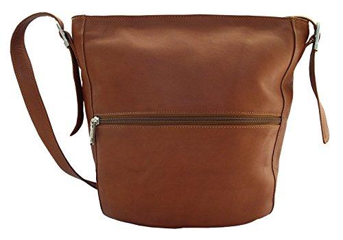 Piel Leather Fashion Avenue Bucket Bag in Saddle