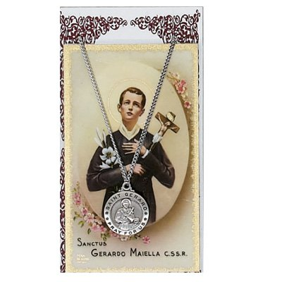 (St. Gerard 3/4-inch Pewter Medal Pendant Necklace with Holy Prayer Card)
