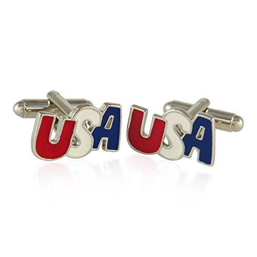 Silver Patriotic USA Cufflinks By Jewelry Mountain