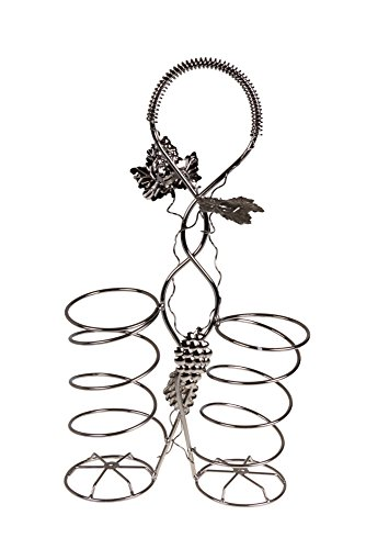 Grape Vine Wine Bottle Gift Holder by Clever Creations | Premium Metal Design Easily Fits 2 Bottles | Decorative Design | Great Gift Basket for Your Favorite Wine | Wide Stable Base | Grape Vine Motif (Wine Bottle Basket)