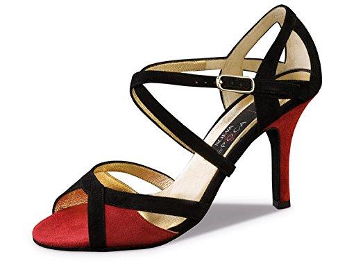 Nueva Epoca-Tango/Salsa Femme Chaussures de Danse Paulina-Suède noir/rouge-8cm