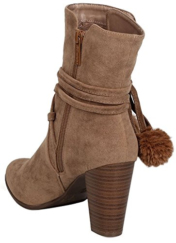 Wrap Pom Bootie Women's Chunky Heel Stacked Pom Around Ankle Beige Breckelles 7Sqtw5w