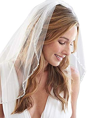 Fneghuavip Short Wedding Veil Fingertip Length Beaded Edge for Bride with Comb