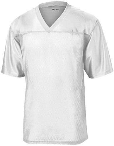 Short Football Jersey Sleeve (Joe's USA(tm) Mens Replica Athletic Football Jersey-White-XL)