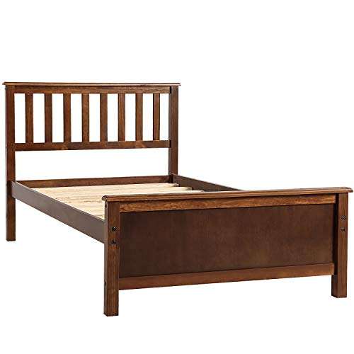Harper&Bright Designs Wood Platform Bed with Headboard/Footboard/Wood Slat Support/No Box Spring Needed Twin (Walnut.)