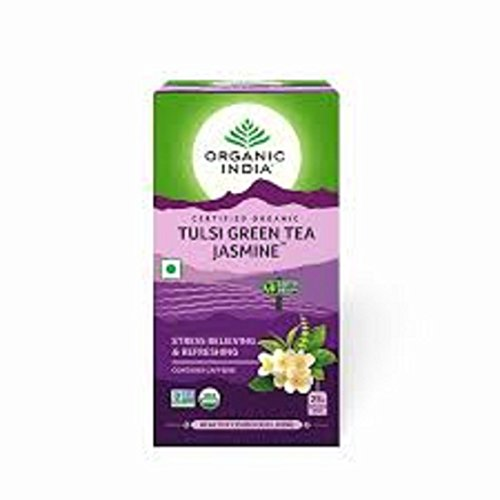 (Organic india tulsi green tea jasmine for refreshing Stress Relieving & Enlivening)
