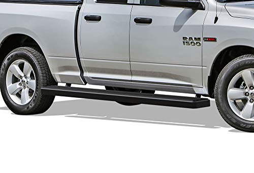 APS iBoard Running Boards (Nerf Bars | Side Steps | Step Bars) for 2009-2018 Dodge Ram 1500 Quad Cab Pickup 6.5ft Bed | (Black Powder Coated 6 inches Wheel to Wheel) Black Powder Coated Wheels