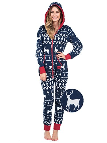 - Tipsy Elves Ugly Christmas Sweater Party - Fair Isle Blue Adult Jumpsuit Size XL