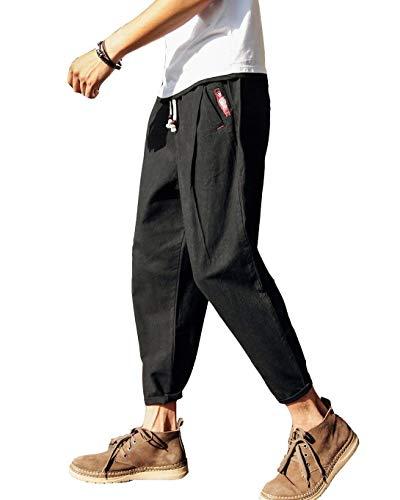 Coulisse Uomo In Pantaloni Larghi Da Chino Casual Nero Hippie Leggeri Forma Lino Harem Giovane Donna Con A Di ERapq