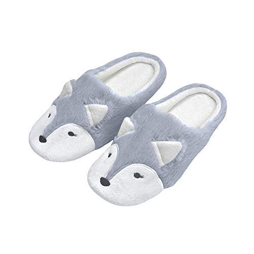 (Cyiecw Women's House Slippers Cute Fox Animal Slipper Comfort Fluffy Plush Indoor Outdoor Non-Slip Home Slippers Shoes (7-8, Grey))
