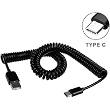 Black Coiled Type-C Cable Rapid Charger Sync USB Wire USB-C Power Data Transfer Cord for Consumer Cellular ZTE Avid 916 - Cricket Samsung Galaxy S8 - Cricket ZTE Blade X MAX