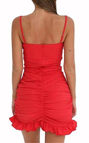 Front Fit CMC Solid Stretch Tank Dress Red Slim Bowknot Womens Sexy qTw4UwIH