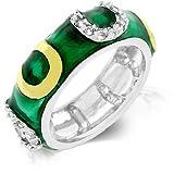 Nvies Horse Shoe Green Enamel Ring