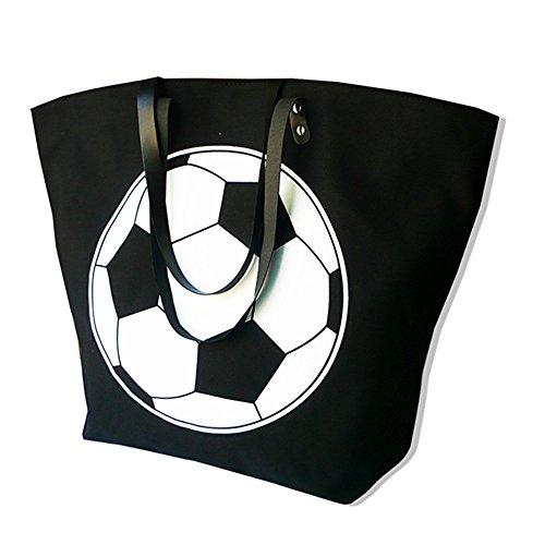 X.Sem Foldable Baseball Softball Tote Bag Canvas Oversized Beach Totes Durable Travel Handbag 22'' (Soccer)