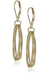 """Napier """"Sparkling Links"""" Gold-Tone Large Multi-Ring Textured Leverback Drop Earrings"""