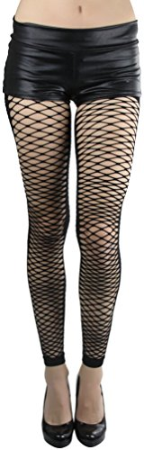 ToBeInStyle Women's Slashed Footless Fishnet Leggings at Ankle Length, Black, One (Footless Fishnets Leggings)
