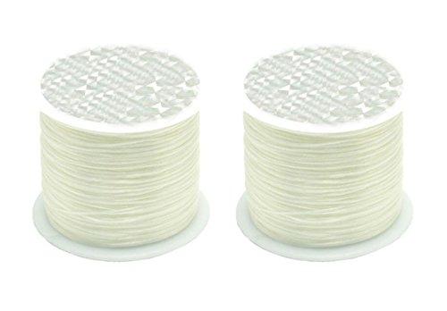 0.5mm Flat Crystal Elastic Line - 54 Yard/Roll - 2 Roll Beading Elastic Cord for DIY Handmade Accessories Beaded Bracelet Rope (White)]()