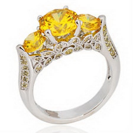 jacob alex ring 10mm Ring Size 9 Yellow Topaz Women's 10Kt White Gold Filled Engagement by jacob alex