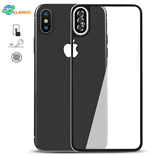 IPhone X Back Screen Protector - LLARIMIN 3D Metal Titanium Bumper Tempered Glass with Camera Protector Hardness Anti Scratch For iPhone X Back 9H Screen Cover Glass Protective Film(2 Pack)