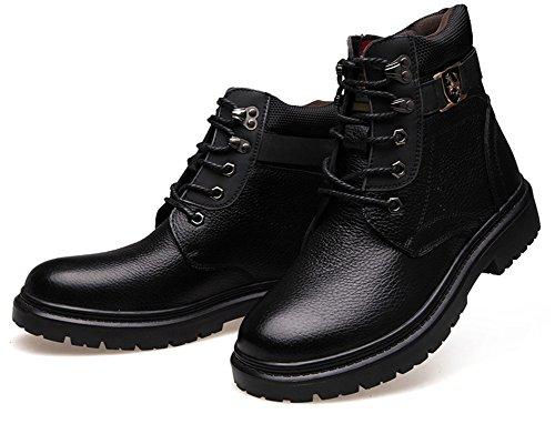 sports shoes b6578 4bf29 Stiefeletten Herren Leder Schwarz Winterschuhe Männer ...