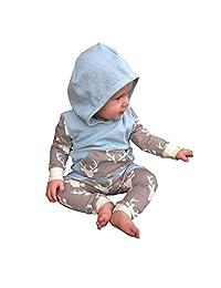 Baby Outfits Set,Flank Newborn Baby Deer Print Long Sleeve Top Shirt+Long Pants Clothes (6-12M)