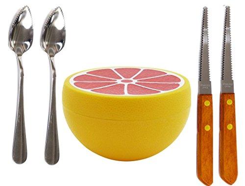 Budays Mart GRAPEFRUIT SET- Two Grapefruit spoons (2), Grapefruit Serrated edge Knife(2), and Grapefruit Saver Grapefruit Set