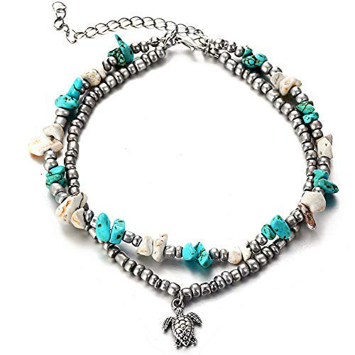 Starfish Turtle Layered Anklets Turquoise Life Tree Various Beach Anklet Wireless Pearl Turtle and Pineapple Leaves Tassel Anklet Five Star Turtle Beach Anklets (Turquoise Turtle) ()