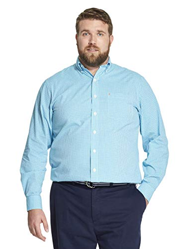 IZOD Men's Big and Tall Button Down Long Sleeve Stretch Performance Gingham Shirt, Caneel Bay, X-Large ()