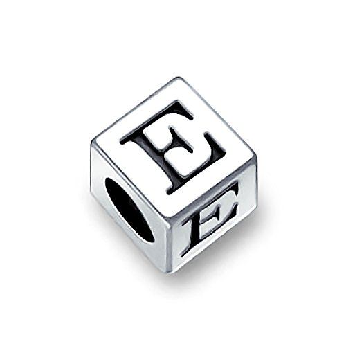 Bling Jewelry 925 Sterling Silver Block Letter E Alphabet Pandora Compatible
