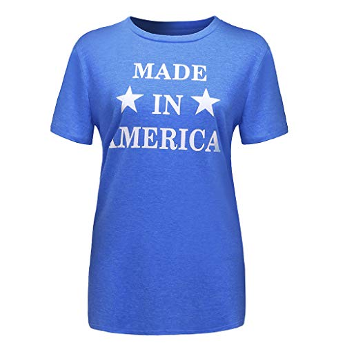 Smdoxi Summer Women's Short-Sleeved T-Shirt American Letter Printing Round Neck Casual top Blue]()