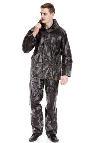 Tom Franks Mens Rainwear Camouflage Print Waterproof Jacket & Trousers, L