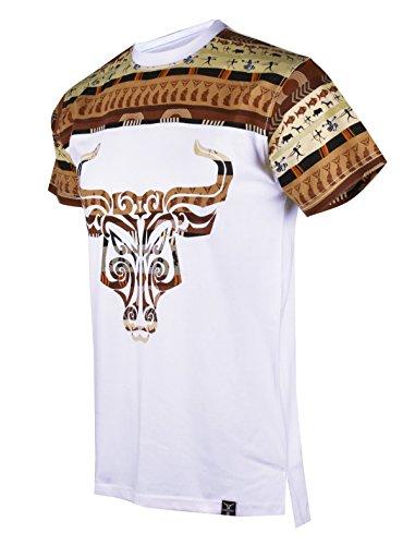 SCREENSHOTBRAND-S11837 Mens Hipster Hip-Hop Premium Tees - Stylish Longline Fashion T-Shirt Dashiki African Bull-White-Large]()