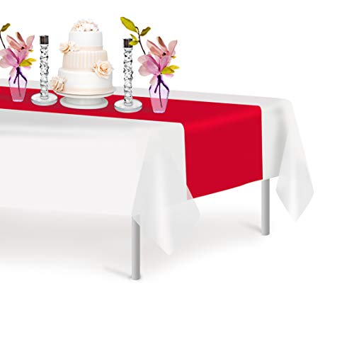 Red 6 Pack Premium Disposable Plastic Table Runner 14 x 108 Inch. Decorative Table Runner for Dinner Parties & Events, Decor By -