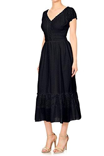 Blanc Noir Robe Bohême Inspiré Style Grande Garniture Fille Jeune Chapeau Dentelle kaci Manche Anna Paysan p8xS68q