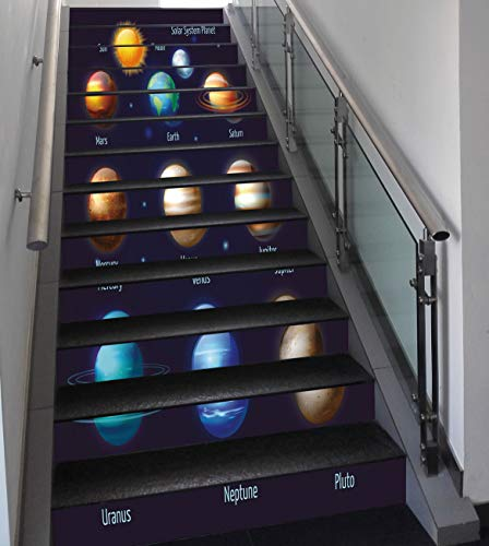 Stair Stickers Wall Stickers,13 PCS Self-adhesive,Educational,Solar System Planets and the Sun Pictograms Set Astronomical Colorful Design,Multicolor,Stair Riser Decal for Living Room, Hall, Kids Room by SCOCICI