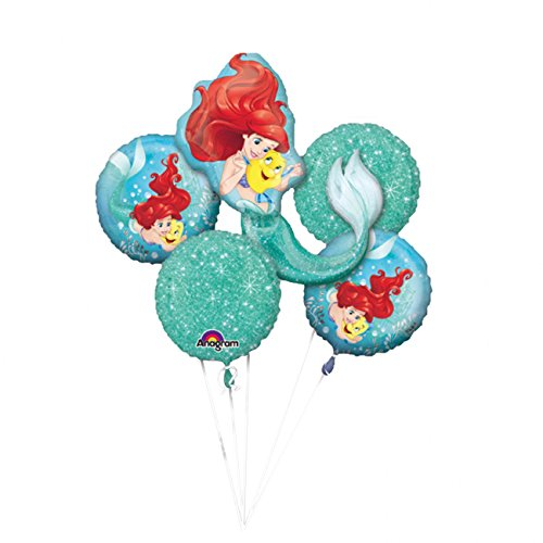 Disney Little Mermaid Foil Balloon Bouquet, Pack of 5 -
