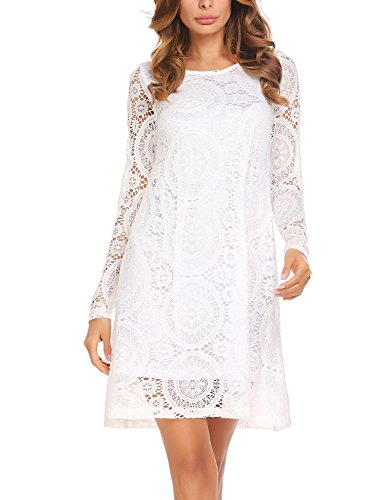Unibelle Women's Lace Loose Casual Chiffon Dress, White, X-Large - White Jacket Dress