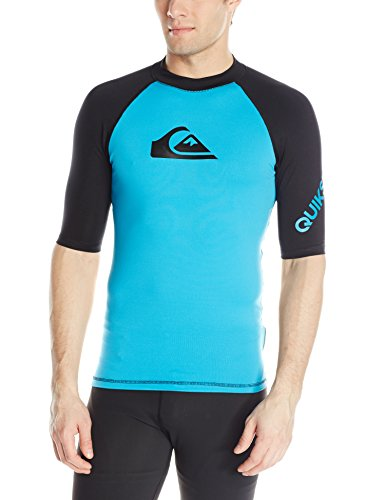 Time Short Sleeve Rashguard Swim Shirt UPF 50+, Hawaiian Ocean/Black, 2XL ()