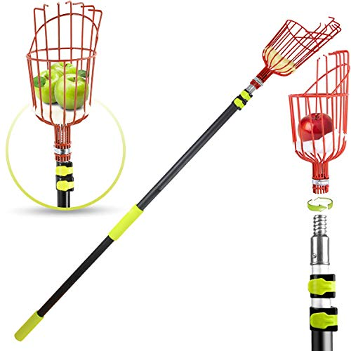 Fruit Picker Tool, 13-foot Fruit Picker with Light-weight Aluminum Telescoping Pole, Fruit Picking Equipment for Getting Apple Oranges and Fruits tree