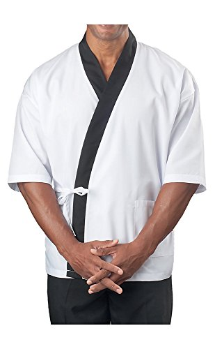 KNG ¾ Sleeve Sushi Coat, White with Black Accent, XL -
