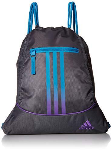 adidas Alliance II Sackpack, Onix/Shock Cyan/Active Purple, One Size (Purple Drawstring Backpack)